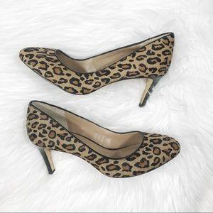 Banana republic leopard print calf hair pumps